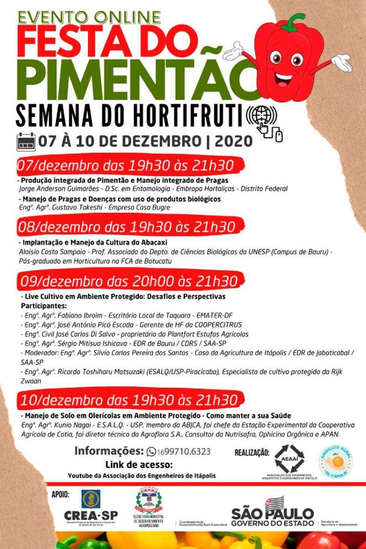 Semana do Hortifruti de Itápolis será de 7 a 10/12 e terá evento online