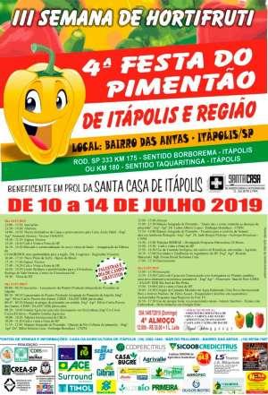 Começa dia 10 de julho a 4ª Festa do Pimentão de Itápolis